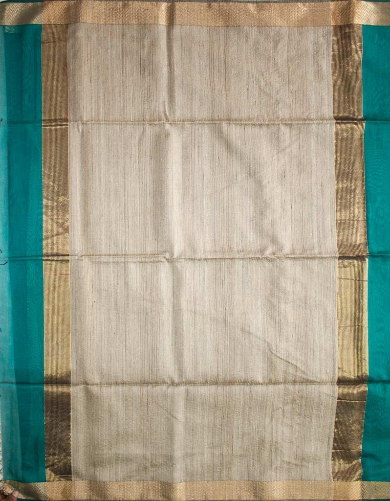 Maheshwari Handwoven Cotton-Silk Saree: Zari Border Kosa Pallu Blue