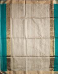Maheshwari Handwoven Cotton-Silk Saree: Zari Border Kosa Pallu Blue
