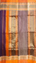 Maheshwari Handwoven Cotton-Silk Saree: Rui Full Border