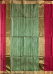 Maheshwari Handwoven Cotton-Silk Saree: Zari Border Kosa Pallu Maroon