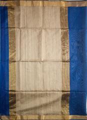 Maheshwari Handwoven Cotton-Silk Saree: Zari Border Kosa Pallu Tussar