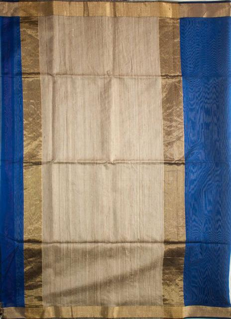 Maheshwari Handwoven Cotton-Silk Saree: Zari Border Kosa Pallu Tussar