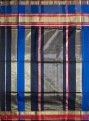 Maheshwari Handwoven Cotton-Silk Saree: Half Chatai Black