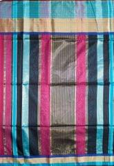 Maheshwari Handwoven Cotton-Silk Saree: Masrai Patta Pink