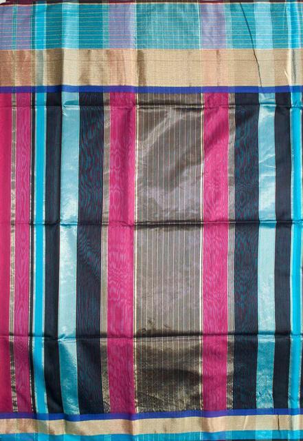 Maheshwari Handwoven Cotton-Silk Saree: Masrai Patta Pink