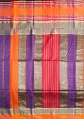 Maheshwari Handwoven Cotton-Silk Saree: Masrai Patta Resham Purple