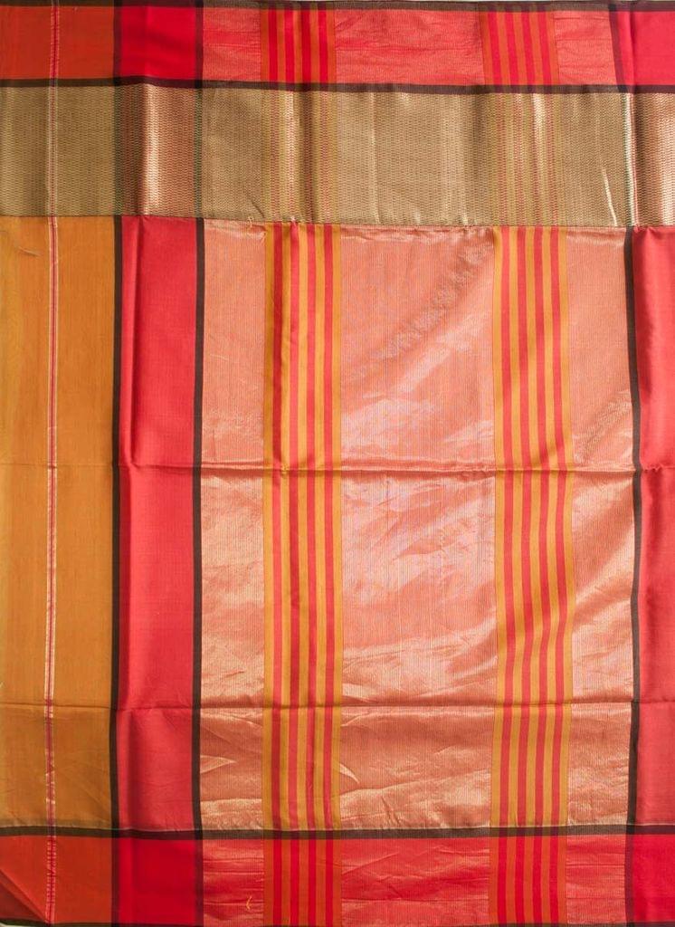 Maheshwari Handwoven Cotton-Silk Saree: Skirt Border Khakee