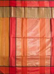 Maheshwari Handwoven Cotton-Silk Saree: Skirt Border Khakee