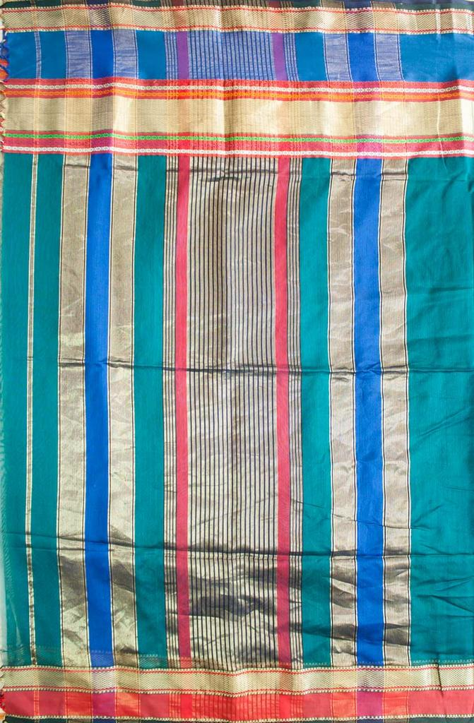 Maheshwari Handwoven Cotton-Silk Saree: Masrai Patta Half Chatai Peacock Green