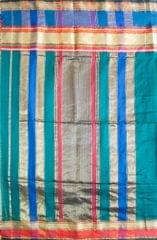 Maheshwari Handwoven Cotton-Silk Saree: Masrai Patta Half Chatai Peacock Green