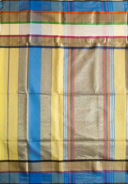 Maheshwari Handwoven Cotton-Silk Saree: Triple Border Yellow