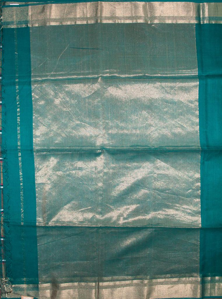 Maheshwari Handwoven Cotton-Silk Saree:Blue