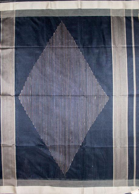 Maheshwari Handwoven Cotton-Silk Saree: Black
