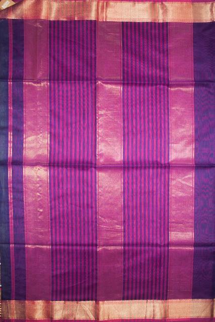 Maheshwari Handwoven Cotton-Silk Saree:Navy Blue