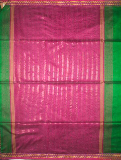 Maheshwari Handwoven Cotton-Silk Saree: Resham Small Karvat Border