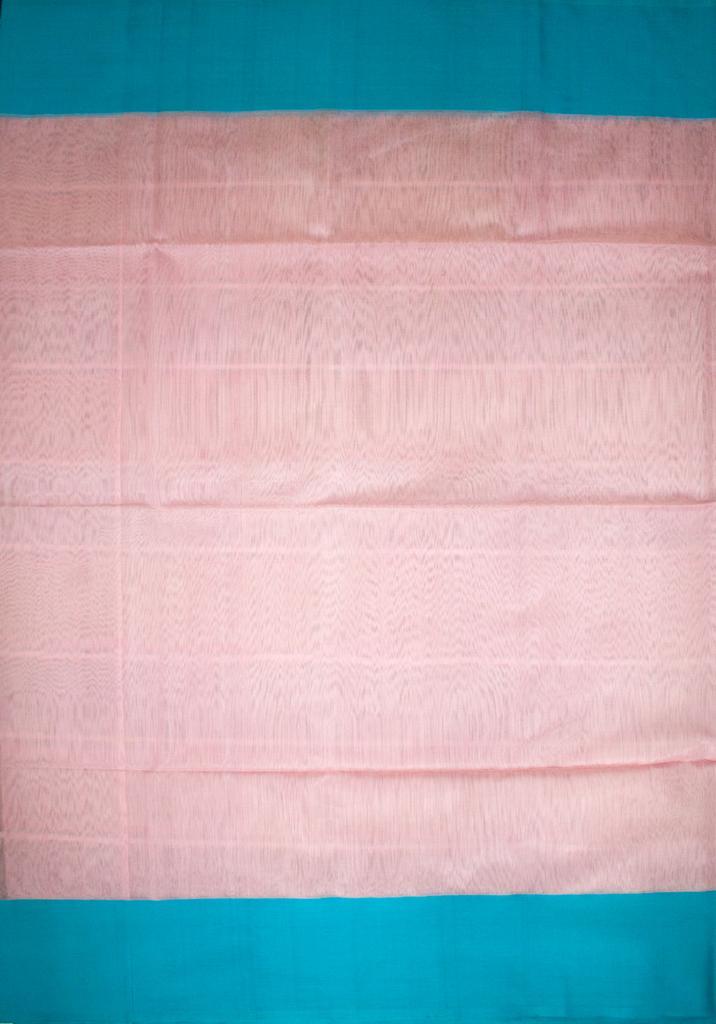 Maheshwari Handwoven Cotton-Silk Saree: Light Pink and Blue