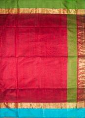 Maheshwari Handwoven Cotton-Silk Saree-Dark Red