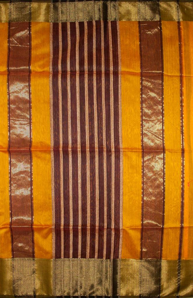 Maheshwari Handwoven Cotton-Silk Saree-Orange
