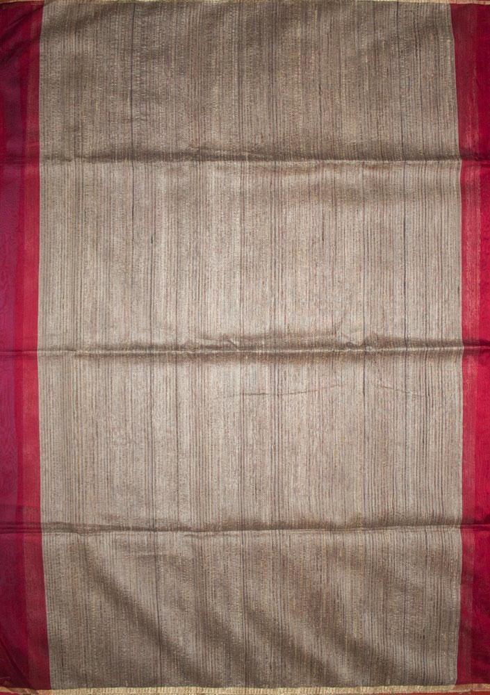 Maheshwari Handwoven Cotton-Silk Saree-Red-Karwat Border Kosa Piece