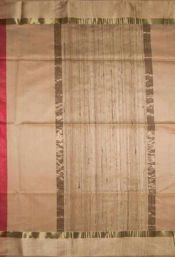 Maheshwari Handwoven Cotton-Silk Saree-Red