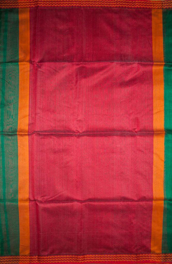 Maheshwari Handwoven Cotton-Silk Saree-Dark Green- Karwat Border Kosa Piece