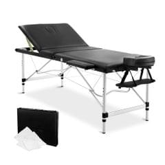 Portable Aluminium 3 Fold Massage Table Chair Bed Black 75cm