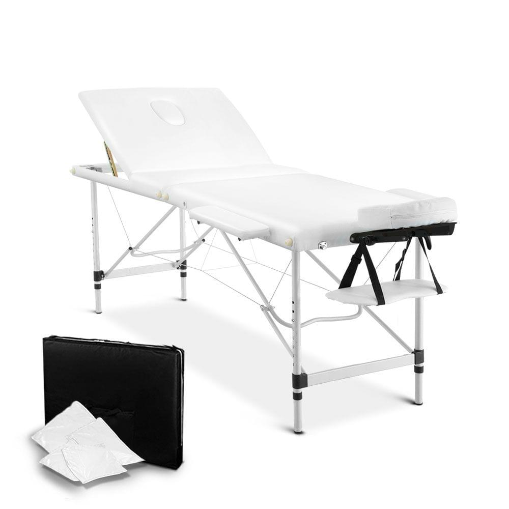 Portable Aluminium 3 Fold Massage Table Chair Bed White 75cm