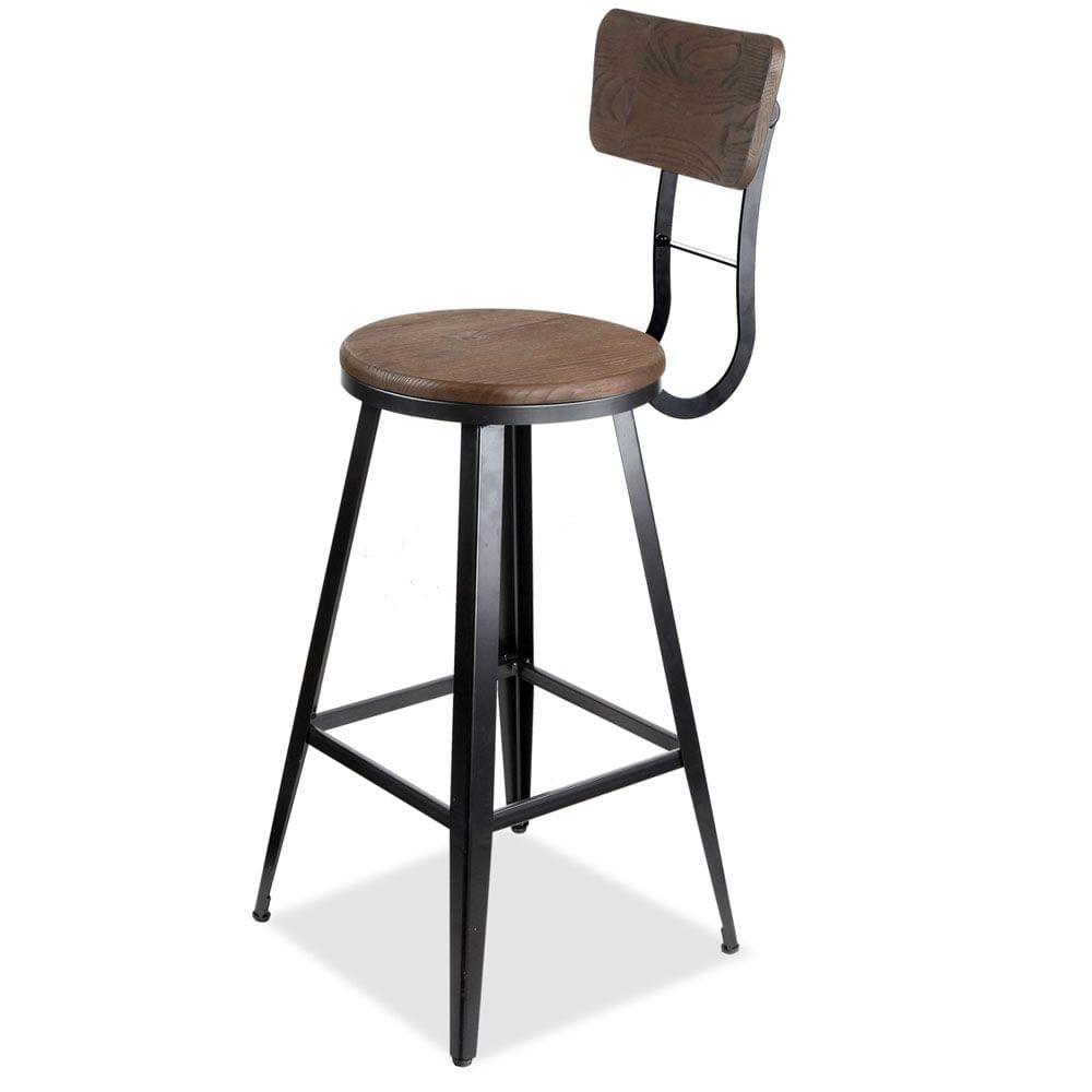 Industrial Bar Stool with Backrest 76cm