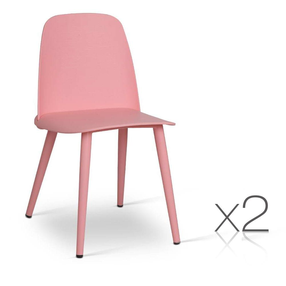 Set of 2 Nerd Replica Dining Chair Pink