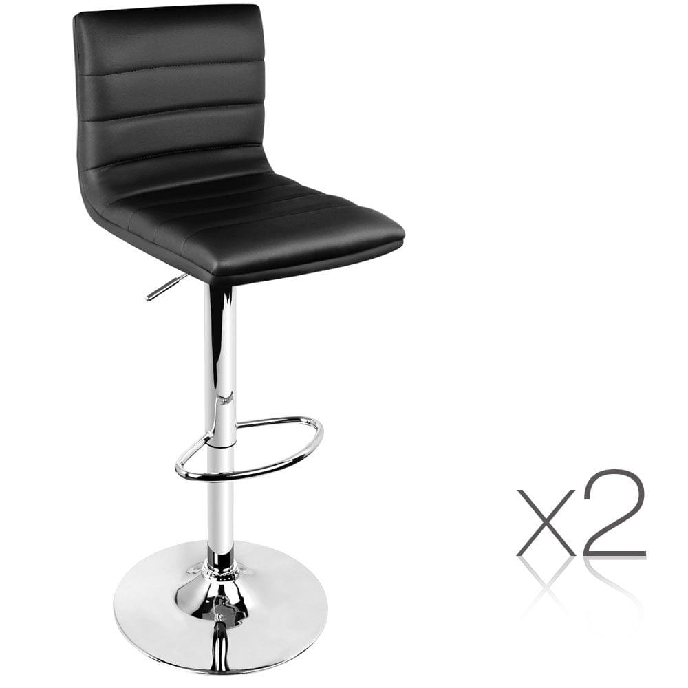 Set of 2 PU Leather Kitchen Bar Stools - Black
