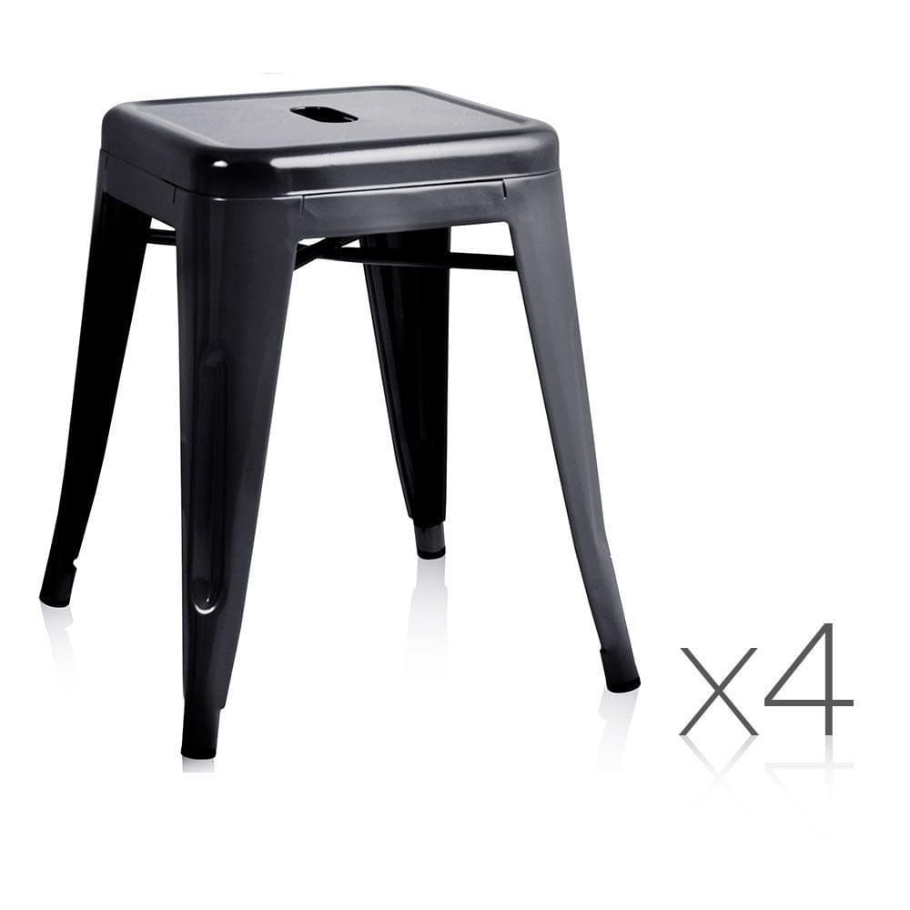 Set of 4 Replica Tolix Kitchen Bar Stool 46cm Black