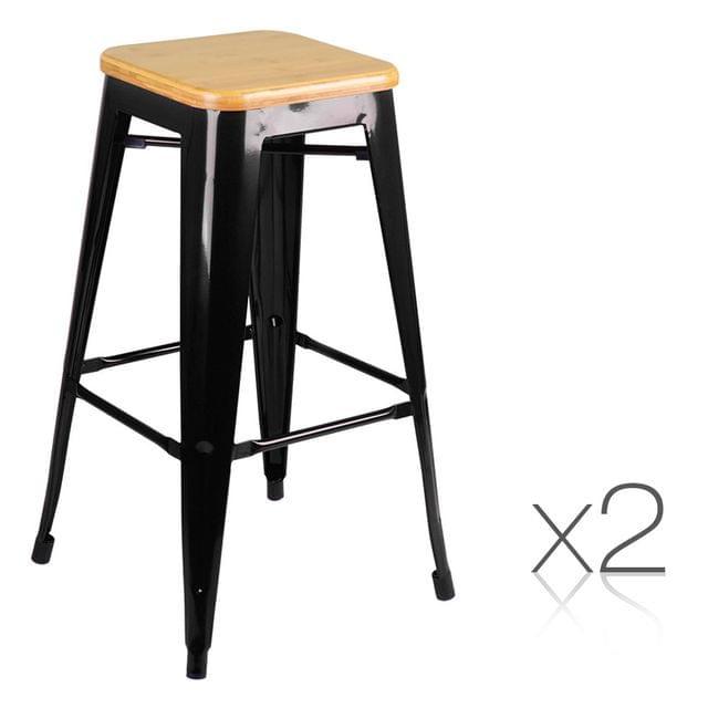 Set of 2 Steel Kitchen Bar Stools Bamboo Seat 76cm - Black
