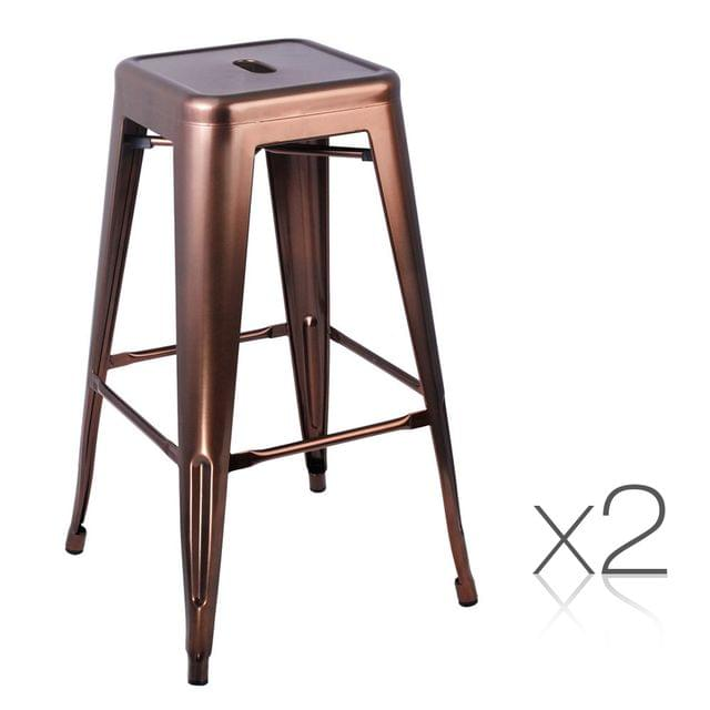 Set of 2 Steel Kitchen Bar Stools 76cm - Bronze