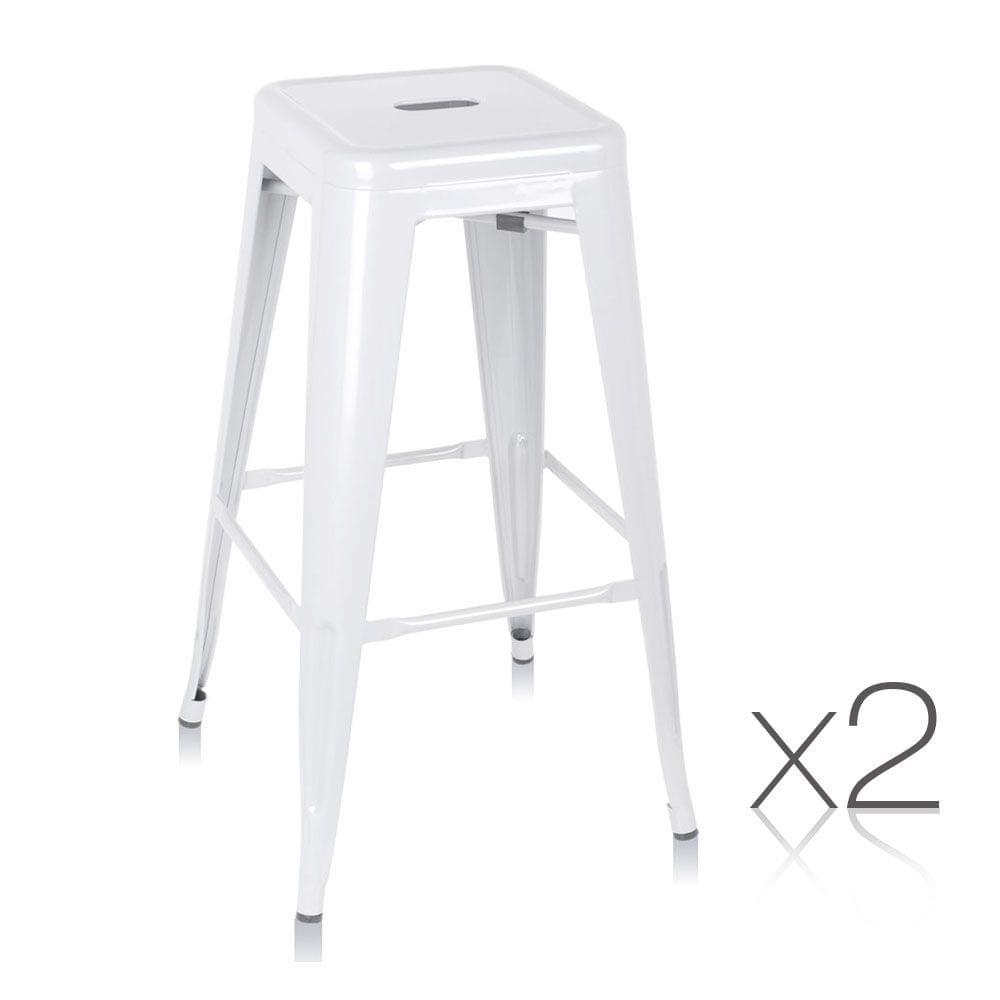 Set of 2 Steel Kitchen Bar Stools 76cm - White