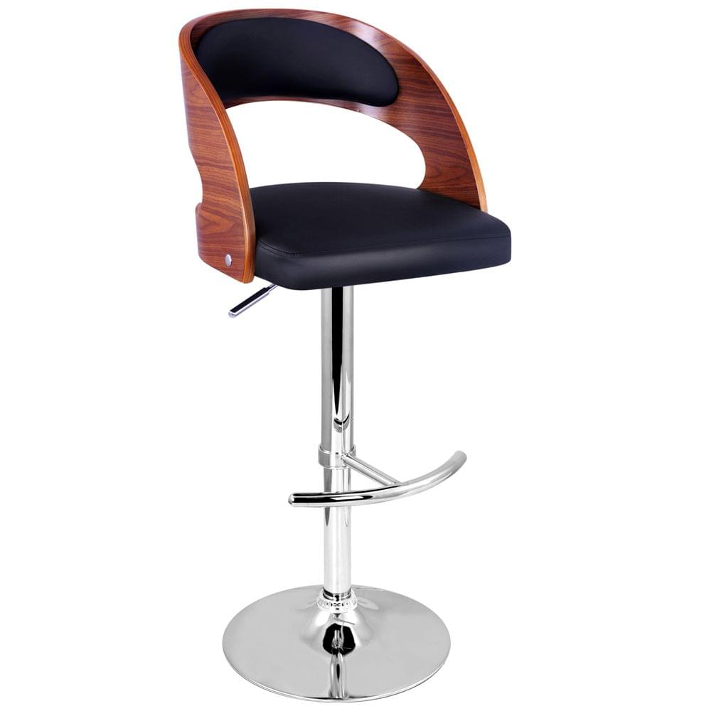 PU Leather Wooden Kitchen Bar Stool Padded Seat Black