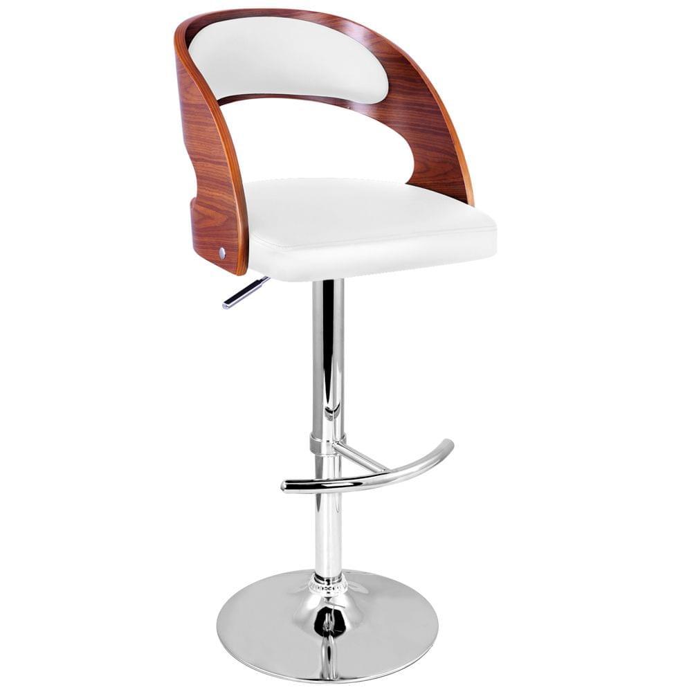 PU Leather Wooden Kitchen Bar Stool Padded Seat White