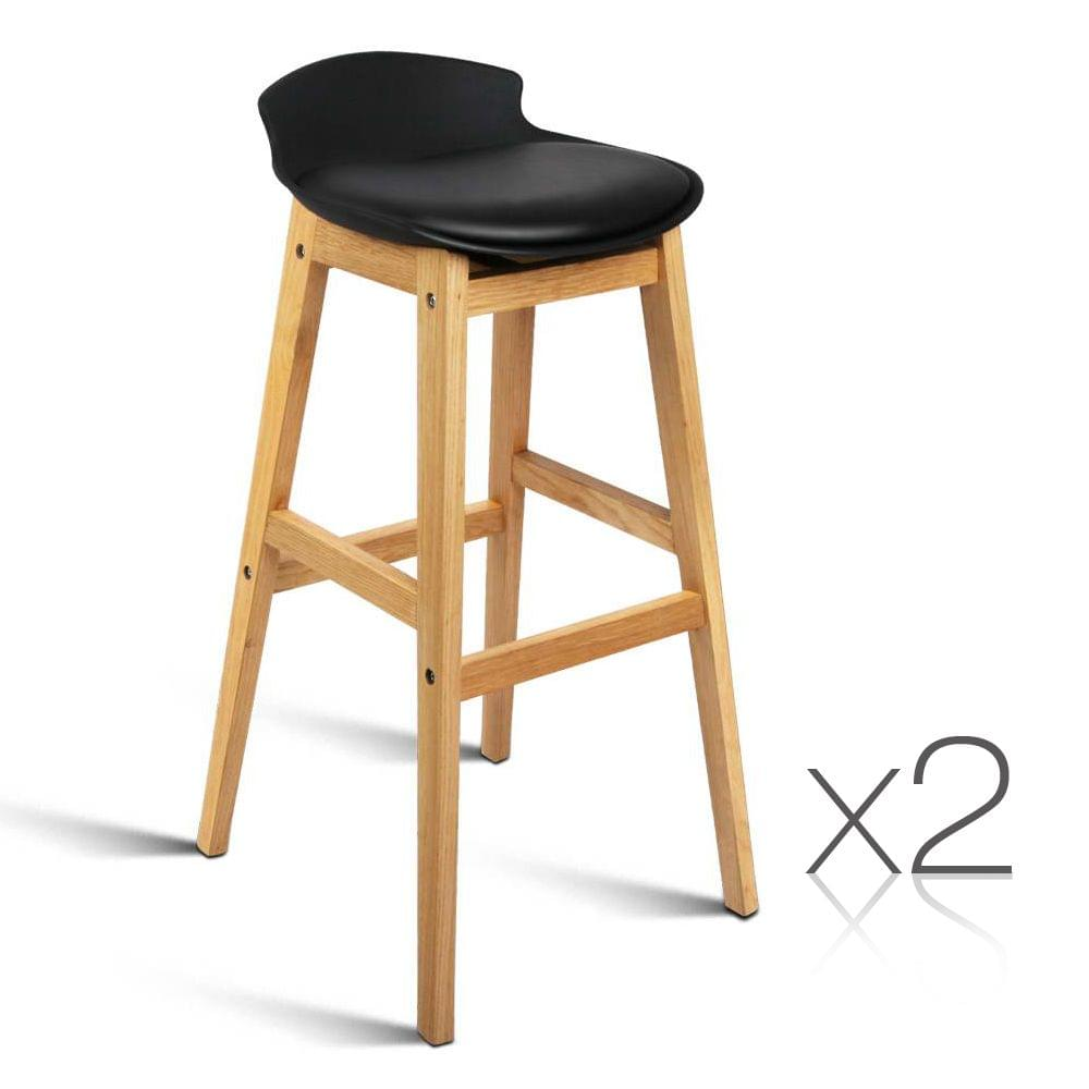 Set of 2 High Seat Back Barstools Black