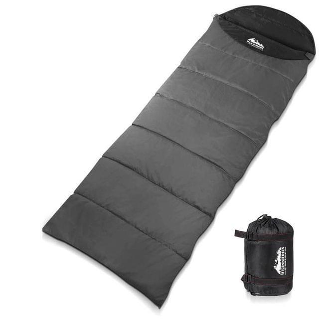 Single Camping Envelope Sleeping Bag Grey Black