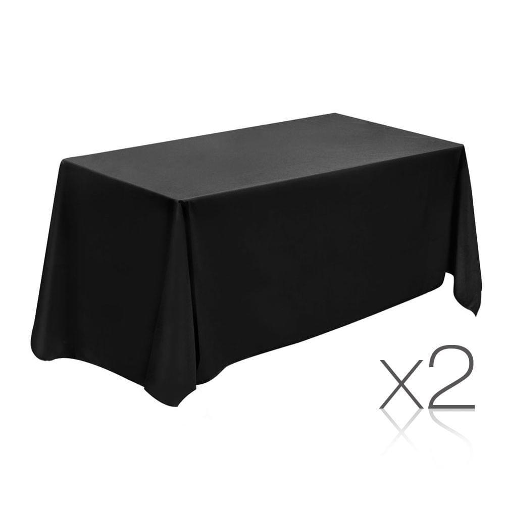 Set of 2 Table Cloths - Black 137 x 244