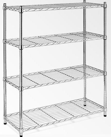 Modular Chrome Wire Storage Shelf 900 x 450 x 1800 Steel Shelving