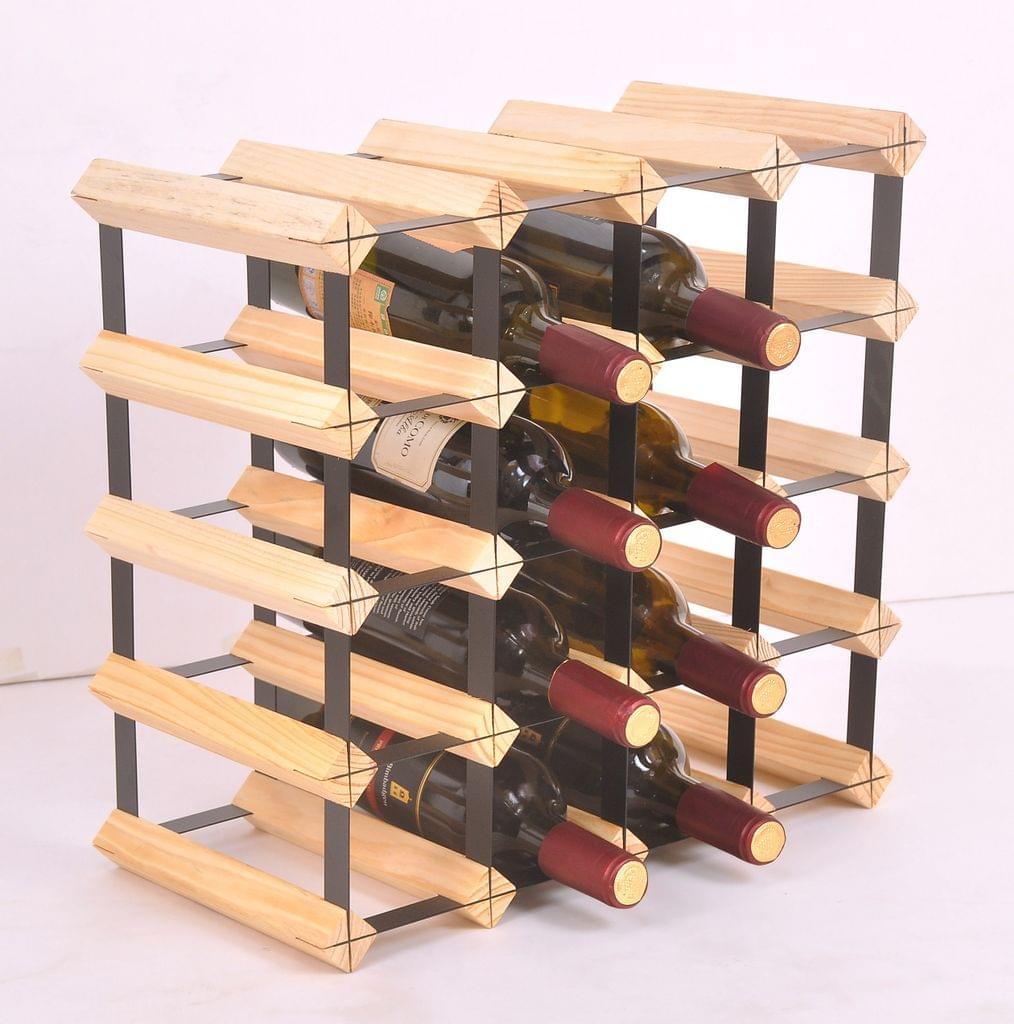 20 Bottle Timber Wine Rack - Complete Wooden Wine Storage System