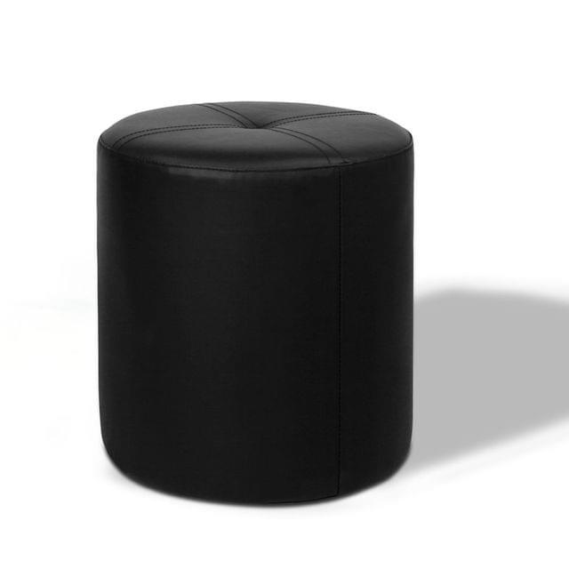 PVC Leather Round Ottoman Black