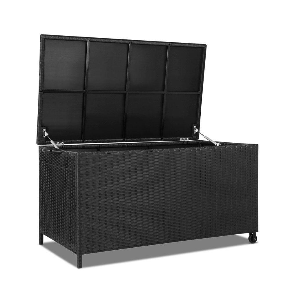 Wicker Outdoor Storage Box Black