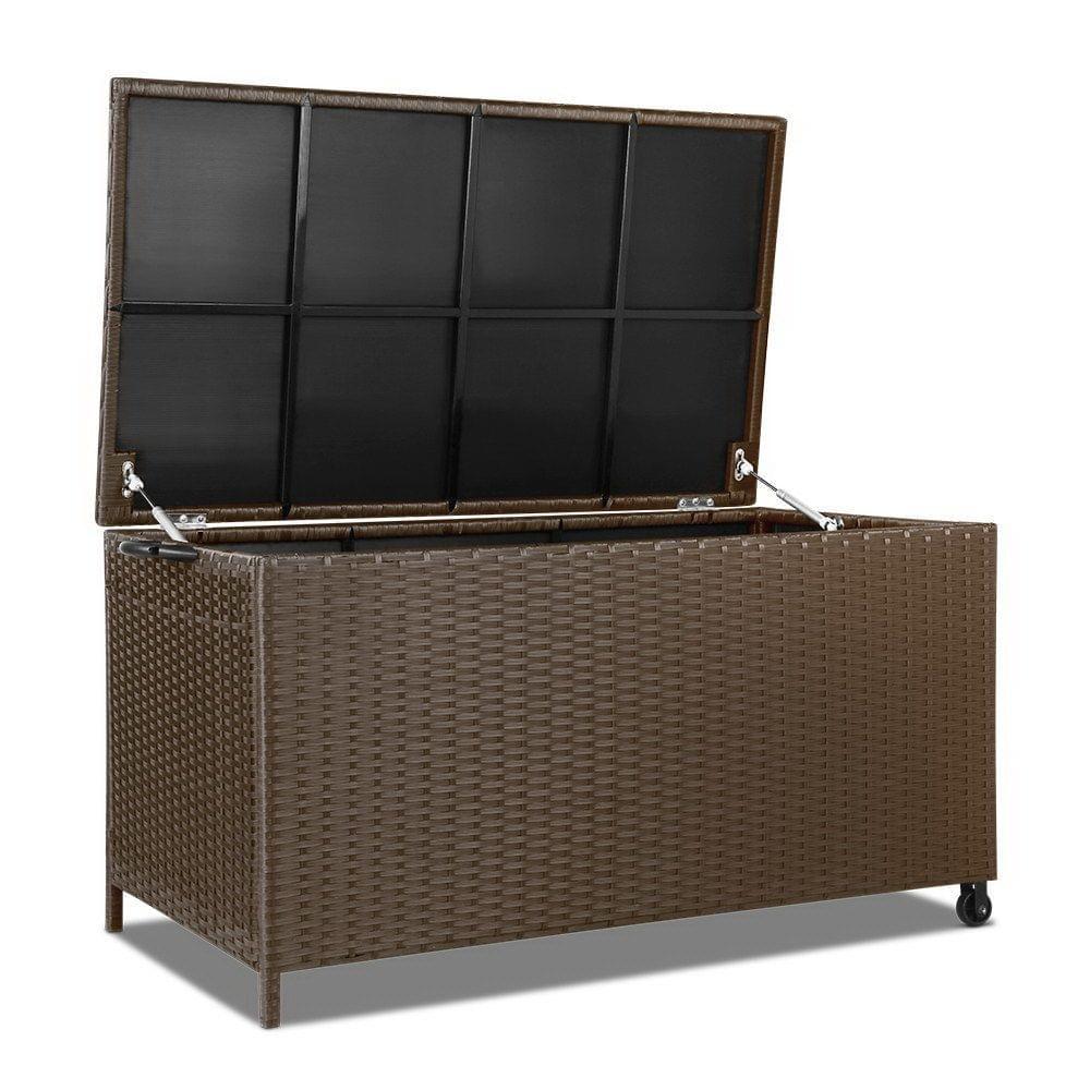 Wicker Outdoor Storage Box Dark Brown