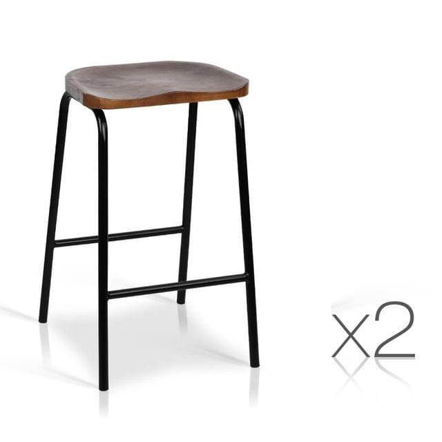 Set of 2 Industrial Bar Stools with Wooden Seat