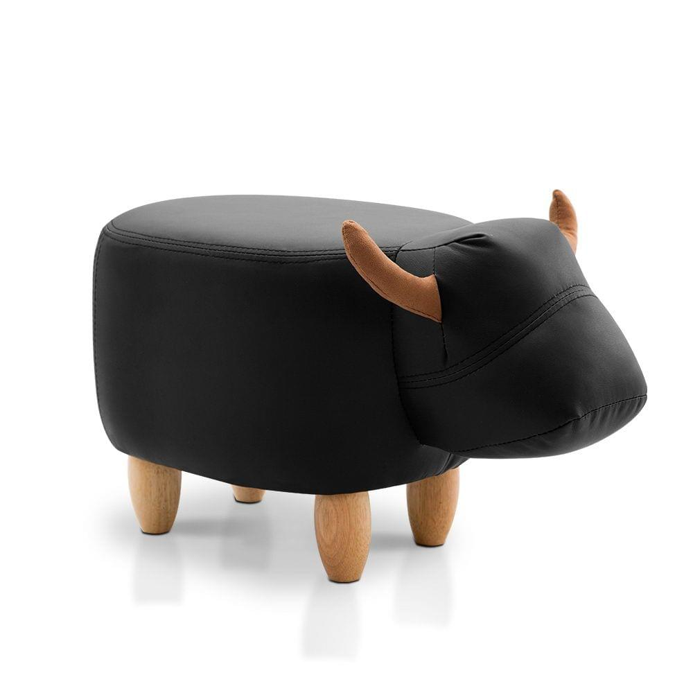 Kids Cow Animal Stool Black