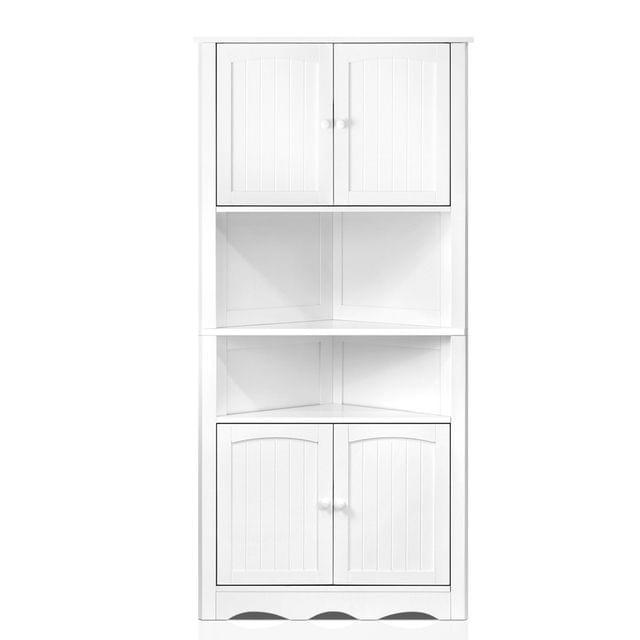 5-Tier Corner Storage Cabinet White