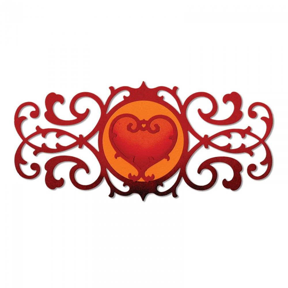 Sizzix Thinlits Die Set 2PK - Decorative Border & Heart - 658946