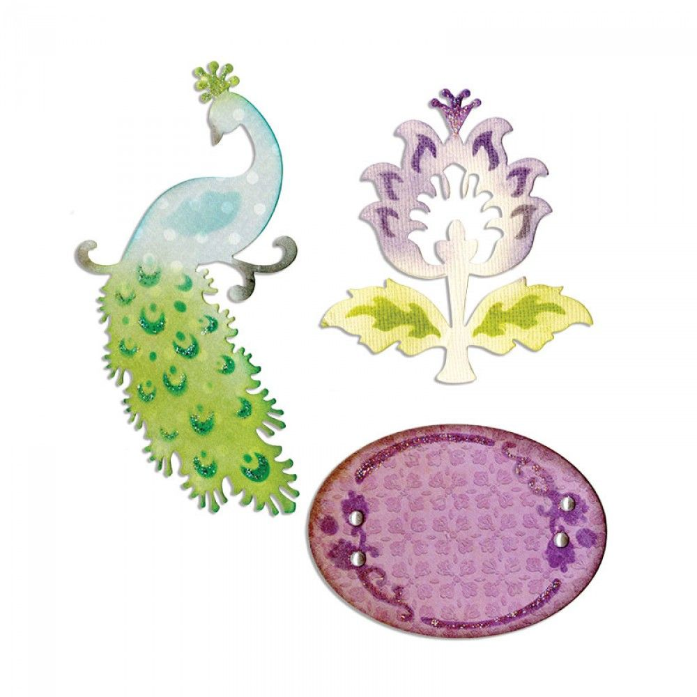Sizzix Thinlits Die Set 3PK - Peacock, Frame & Flower - 659070