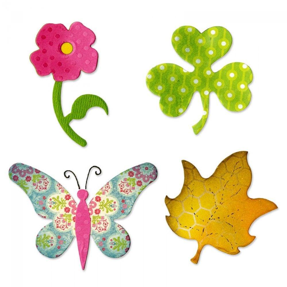 Sizzix Bigz Die - Butterfly, Flower, Leaf & Shamrock - A10600